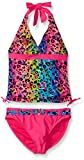 Angel Beach Big Girls' Leo Love Animal Print with Foil Tankini Set with Belted Bottom, Pink, 10