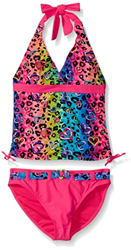 Belted Tankini (Angel Beach Big Girls' Leo Love Animal Print with Foil Tankini Set with Belted Bottom, Pink, 10)