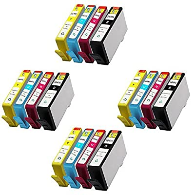 HOTCOLOR Inkjet Ink Cartridges HP564XL HP 564XL HP 564 XL HP564 XL Ink Cartridges for HP Photosmart 6515 6520 6525 e-All-in-One Series (4 Black,4 Cyan,4 Magenta,4 Yellow)