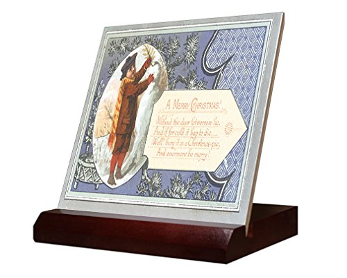 Without The Door Awishes Christmas Card Ceramic Tile & Stand 6''x6'' by Style in Print