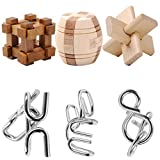 IQ Brain Teaser, Yamix IQ Test Toy Disentanglement Puzzles Toy Ultimate IQ Test Metal Brain Teaser Puzzles Highly Stimulating Brain Teasers Include 3 Iron Metal Puzzle & 3 Wooden Kong Ming Lock