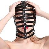 Leather Mask Headgear Head Harness Unisex Asphyxia Hood Punk Goth Fetish Cosplay