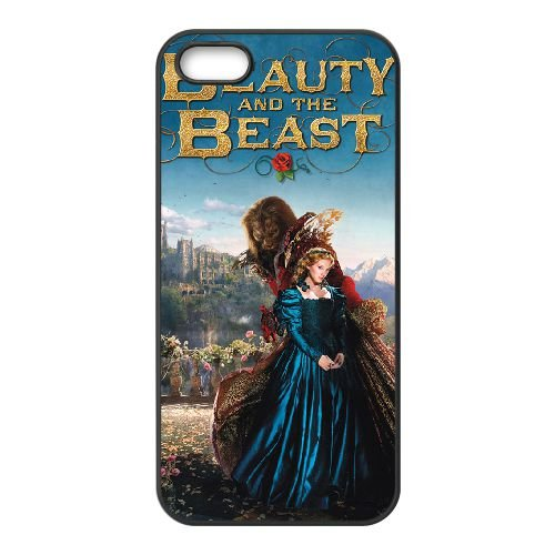 Beauty And The Beast 4 coque iPhone 5 5S cellulaire cas coque de téléphone cas téléphone cellulaire noir couvercle EOKXLLNCD22113