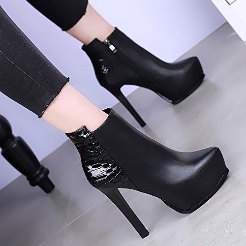 khskx-european invierno Super botas de tacón alto botas impermeables con fina sexy negro serpiente Club Martin botas marea negro