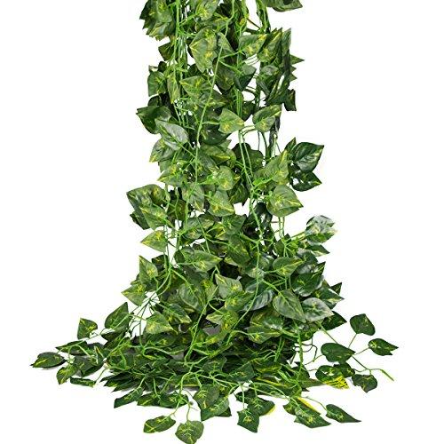 84 feet-12 Pack Artificial Ivy Leaf Garland Plants Vine Hanging for Wedding Home Decor (Scindapsus (Garland Wedding Arch Decor)