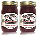 Mrs. Miller's Amish Homemade Strawberry Jam 18 oz/509g - 2 Jars (36 ounces Total)
