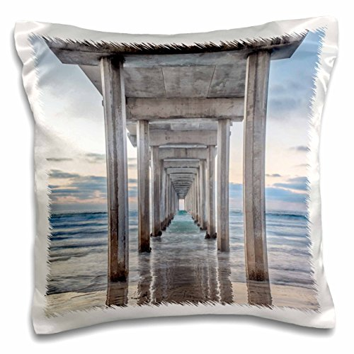 3dRose pc_209270_1 USA, California, La Jolla, Scripps Pier-Pillow Case, 16 by 16