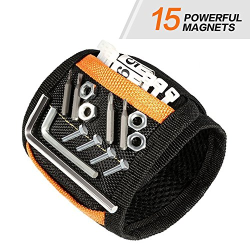 KeeQii Magnetic Wristband with 15 Super Strong Magnets for Holding Screws, Nails, Drill Bits Father Day Gift Tool Band for Him Men Handyman Husband Father Women Guys DIY-er