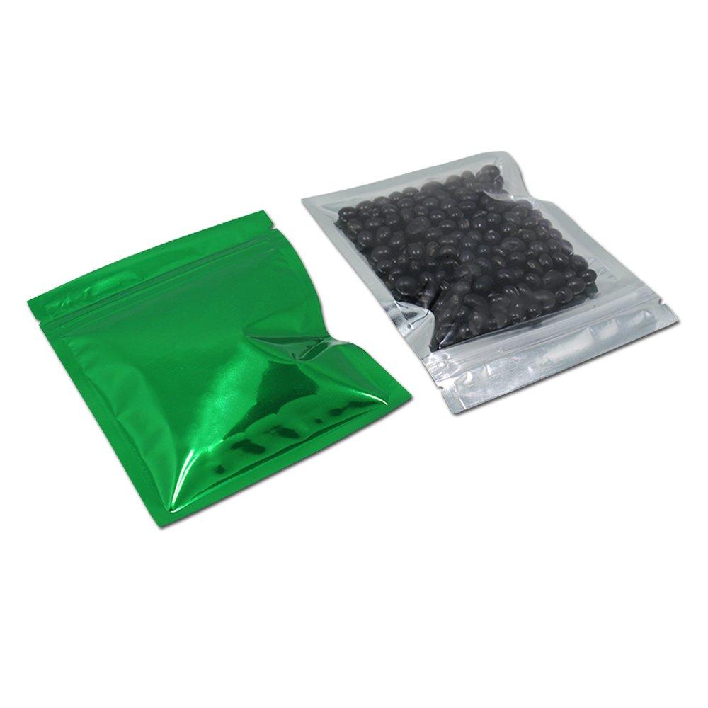 800 Stück Kunststoff Grün Mylar Alufolie Taschen Wiederverwendbare Aluminium Mylar Folie Beutel Reißverschluss Verpackungs Beutel für Zucker Imbiss Kaffee Süßigkeit Bohnen Verpacken 10.2x12.7cm