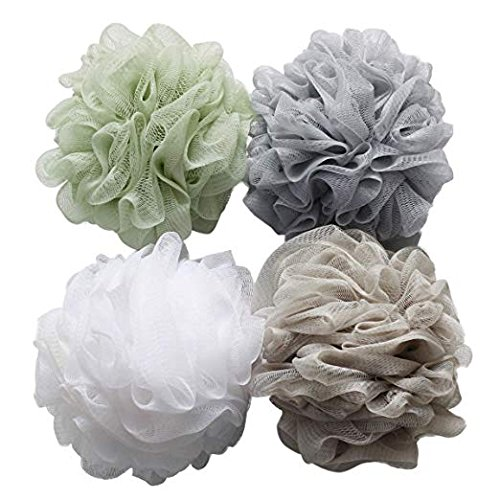 Bath Shower Loofah Sponge Mesh Pouf Exfoliating, 75g White and Gray Large Shower Body Sponge Pouf 4 Pack, OperationCwrl