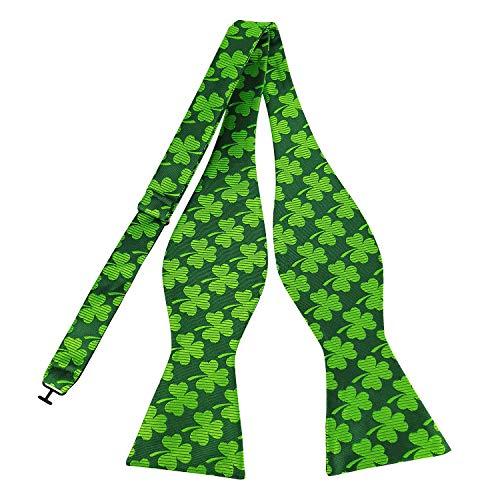 (Men's Bow Tie Shamrock Pattern Solid Striped Green Bowtie Self Tie for Feast Dress)