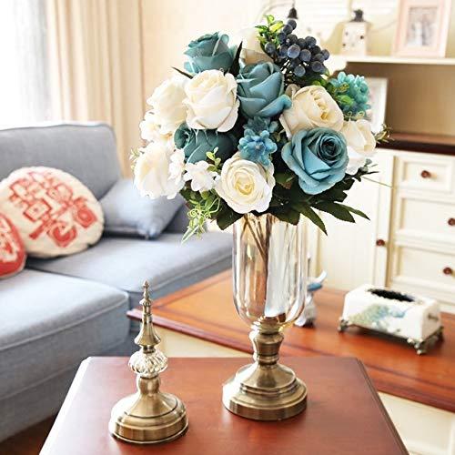LUOSAI HOME アメリカンクリスタル花瓶装飾リビングルームフラワーアレンジメントヨーロッパレトロシミュレーションフラワードライフラワーモダンテレビキャビネット装飾 B07Q9JKY2C