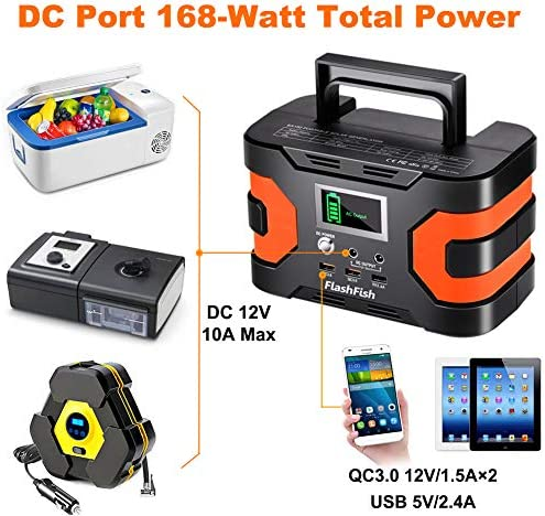 200W Peak Power Station, Flashfish CPAP Battery 166Wh 45000mAh Backup Power Pack 110V 150W Lithium Battery Pack Camping Solar Generator For CPAP Camping Home Emergency Power Supply 51G07CuRTNL