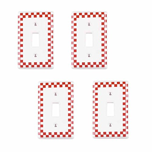 Porcelain Wall Switchplate - Porcelain Single Toggle Switch Plate Red Checkered Design Set Of 4 Renovator's Supply