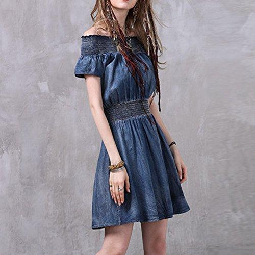 Damen girl Kurzarm Linie Partykleid Kleider Denim A Kleid E Midi Blau LHA82030 HEqwdOxO