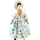 W&D VANNA Blue Floral Clothes Dress For 18 Inch American Girl Dolls