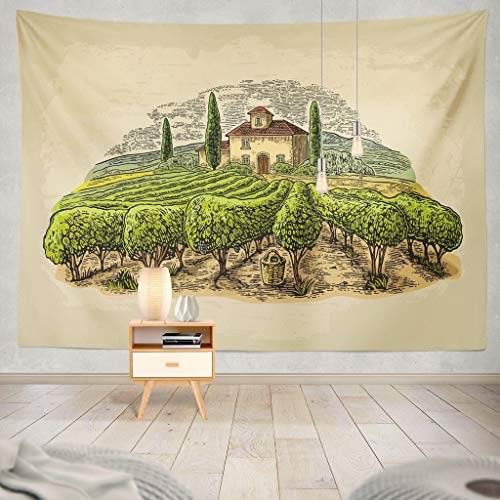 (KJONG Landscape with Villa Vineyard and Hills Color Vintage Old Beige Wine Vineyard Landscape Winery Vine Farm Italy Decorative Tapestry,50X60 Inches Wall Hanging Tapestry for Bedroom Living)