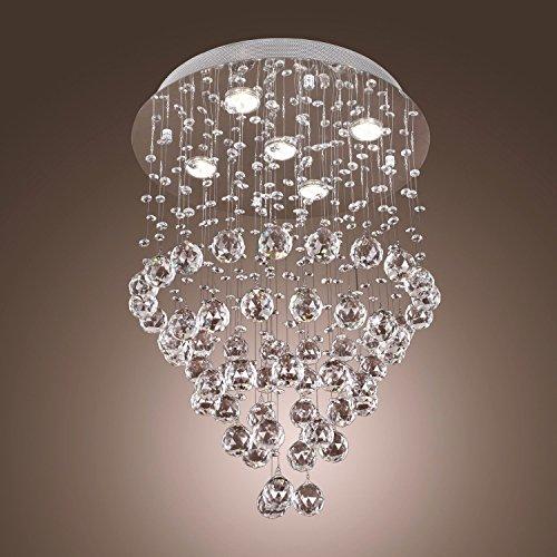 APBEAM Clear K9 Modern Small Spiral Rain Drop Ceiling Light Crystal Chandelier Light Fixtures Lighting 18″W x 26″H