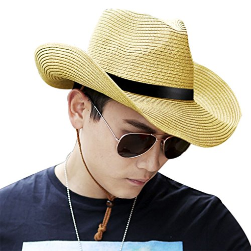 JIAHG Men Cowboy Sun Hat Foldable Straw Hat Classic Western Newsboy Cap Summer Wide Brim Roll Up Raffia Cowboy Hat Fedora Hat with String Sun Visor Beach Sunshade Bucket Outdoor Fishing ()