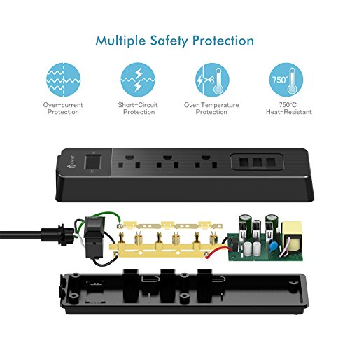 [Overload Switch Control] iClever BoostStrip IC-BS04 Power Strip   USB Charger with 3 USB + 3 AC Outlets, 6ft Extension Cord Charging Station - Black by iClever (Image #3)
