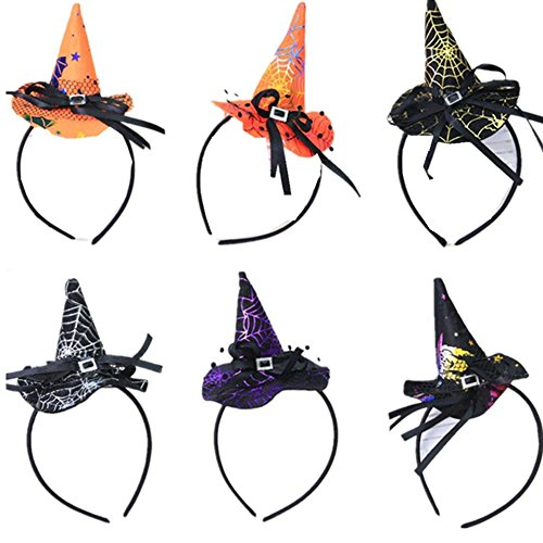 6 PACK Novelty Halloween Party Witch Cap Spider Hat Party Props Costume -