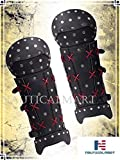 Samurai Greaves Medieval Black Leg Guard Armor Leather Halloween Costume