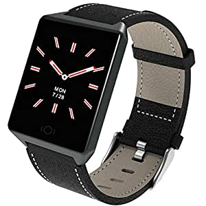 Pard Fitness Tracker, Men/Women Fashion Smart Watch, Heart Rate/Blood Pressure/Sleep Monitor for iPhone Xs XR and Android Samsung Phones, Black