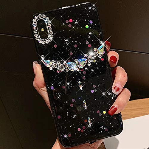 Glitter Case for iPhone Xs Max,Girls and Women 3D Handmade Bling Rhinestone Diamonds Glitter Crystal Sparkly Paillette Flexible Soft Rubber Gel TPU Case Cover for iPhone Xs Max Silicone Case,Black by ikasus