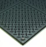 "Wearwell Natural Rubber 788 Modular Diamond-Plate Conductive ESD Mat, for Electronic and High-Voltage Apparatus , 3' Width x 3' Length x 1/2"" Thickness, Black"