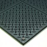 Wearwell Natural Rubber 788 Modular Diamond-Plate Conductive ESD Mat, for Electronic and High-Voltage Apparatus , 3' Width x 3' Length x 1/2'' Thickness, Black