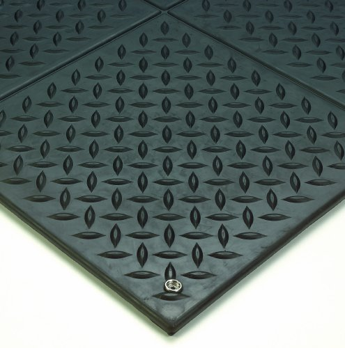 Diamond Plate Ergonomic Mat - Wearwell Natural Rubber 788 Modular Diamond-Plate Conductive ESD Mat, for Electronic and High-Voltage Apparatus , 3' Width x 3' Length x 1/2