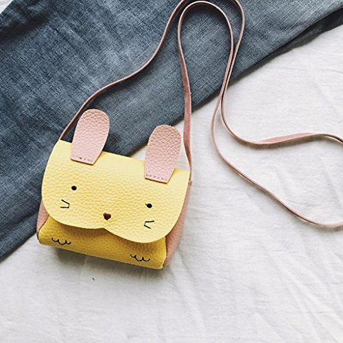 Handbag Shoulder Girls PU Bag 9cm Gifts x Leather Party 12 Mini 2 5 Crossbody SHOBDW x Yellow Kids Animal Bunny Bags Cute School White Children BPBzxr0