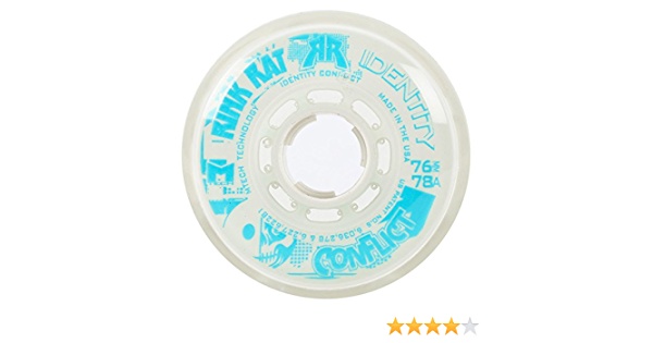 RINK RAT Wheels 72mm 78a IDENTITY CONFLICT 4-Pk White//Blue Inline Indoor Hockey