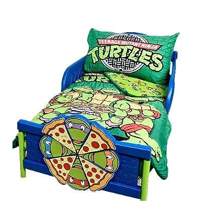 Teenage Mutant Ninja Turtles Brand New Green Toddler Multicolored Microfiber Comforter Reversible Classic TMNT Designed Standard Size Fitted Sheet 3 Pcs Bedding Set
