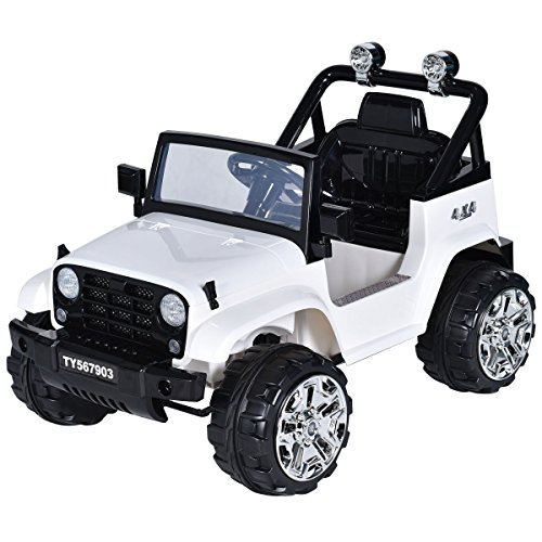 Costzon Ride On Jeep Truck, 12V Battery Powered Ride On Vehicle, Parental Remote Control & Manual Modes w/ Twin Motors, LED Lights, Horn, Music, MP3, Volume Controller, High/Low Speed for Kids, White