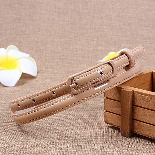 Khaki 100cm Women Fashion Candy Color Skinny Waist Belt PU Leather Small Waistband Cloth Cute Designer Fine Girl Novelty Pretty