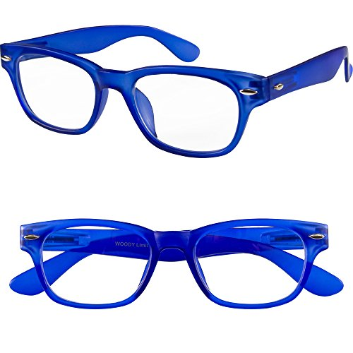 I NEED YOU Designer Woody Blue Reading Glasses Prescription Eyeglasses For Men & Women Spring Hinge And High-Quality Plastic Eyeglasses Power Glass With Strength - Power Eyeglasses