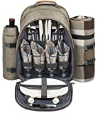 Search : 4 Person Picnic Backpack With SOLID Stainless Steel Utensils, Oversized Water Resistent Fleece Blanket , Cooler Compartment, Detachable Wine Bottle Holder in a Modern Designed Backpack