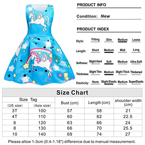 Cotrio Rainbow Unicorn Dress for Little Girls Birthday Party Dress Up Toddlers Casual Dresses Size 6 (5-6Years, Blue with Stars) by Cotrio (Image #7)
