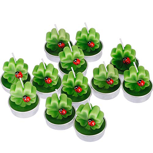 TecUnite 12 Pieces Shamrock Tealight Candles Handmade Delicate Clover Candles for St. Patrick Party Day Wedding Spa Home Decoration Gifts (Style - Candle Tealight Leaf
