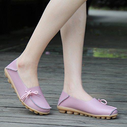Mocassini In Pelle Da Donna Delle Signore Cara-queen Lace Up Mocassino Da Barca Casual Slip-on Pink