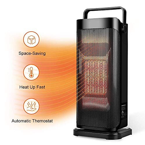 TRUSTECH Ceramic Space Heater Tower Heater for Office Small Portable Personal Heater Fan Heat Up Fast Under The Desk Oscillating Heater Instant Warm for Winter Adjustable Temperature