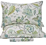 Queen's House Luxury Baroque Style Greend Print Bedding Sheets Linen Set-King,H