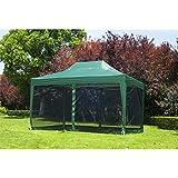 Carpa 3x4.5m + Mosquitera Carpa Plegable en Acordeon Gazebo verde terraza jardin