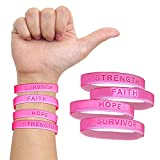 48 Pack Inspirational Breast Cancer Awareness Pink Wristband with Motivational Messages of Faith, Hope, Strength, and Survive. Be Strong Quote Bracelets. Stay Motivated Forever!