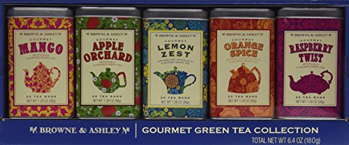Browne & Ashley Gourmet 5 Green Tea Gift Tin Collection
