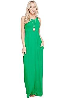 68663081a1d Sportoli Maxi Dresses for Women Solid Lightweight Long Racerback Sleeveless  W Pocket