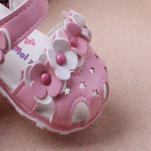 Prewalker Zapatos Auxma Las sandalias huecos de las flores de los bebés Soft-Soled princesa calzan los zapatos del verano de Firstwalker Iluminado B