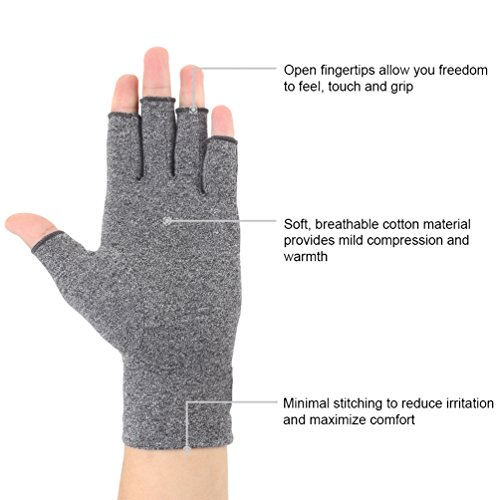 Arthritis Gloves 2 Pairs, Compression Gloves Support and Warmth for Hands, Finger Joint, Relieve Pain from Rheumatoid, Osteoarthritis, RSI, Carpal Tunnel, Tendonitis, Women and Men (Gray, Large) by Brace Master (Image #2)