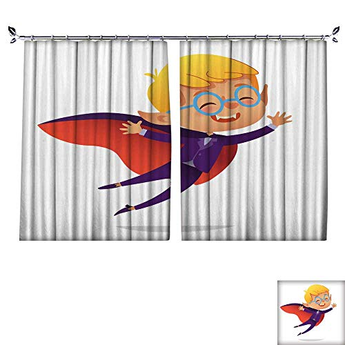 Customized Curtains Kids Costume Party Dracula Vampire Boy in Halloween devil costume laughing and flying Cartoon vector Character for party invitations web mascot Isolated W55